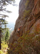 Rock Climbing Photo: J. Dias climbs through the early crux section on C...