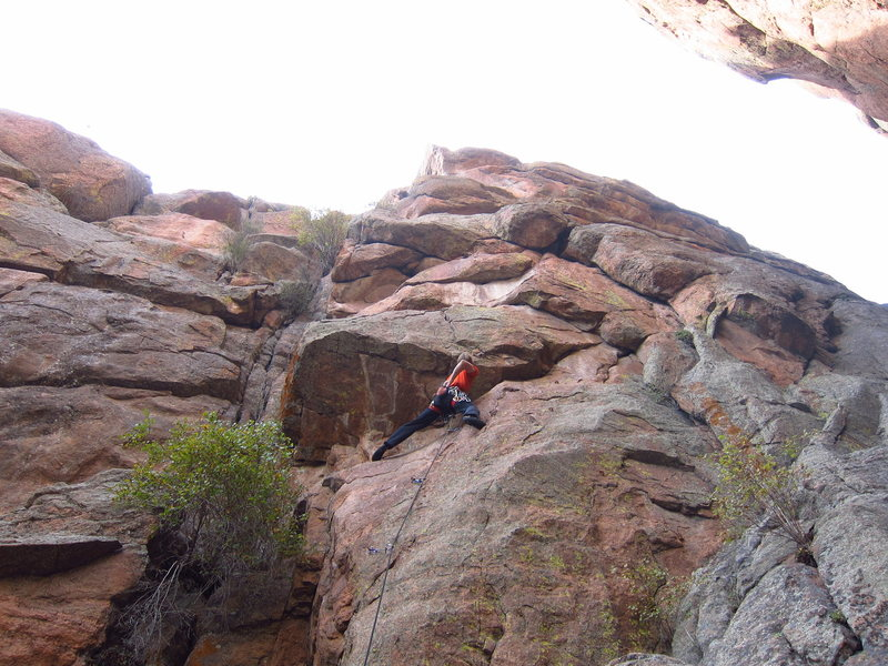 Rock Climbing Photo: At the stance below the first roof of Stimula.