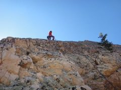 Rock Climbing Photo: Near the upper pitches, Nicky pauses for the camer...