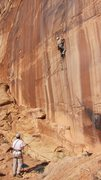 Rock Climbing Photo: Peter starting up P1.