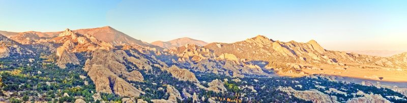 Panoramic view from the top of Bath Rock, overlooking the City of Rocks...