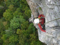 Rock Climbing Photo: Ecstasy, 5.7, Seneca Rocks, WV