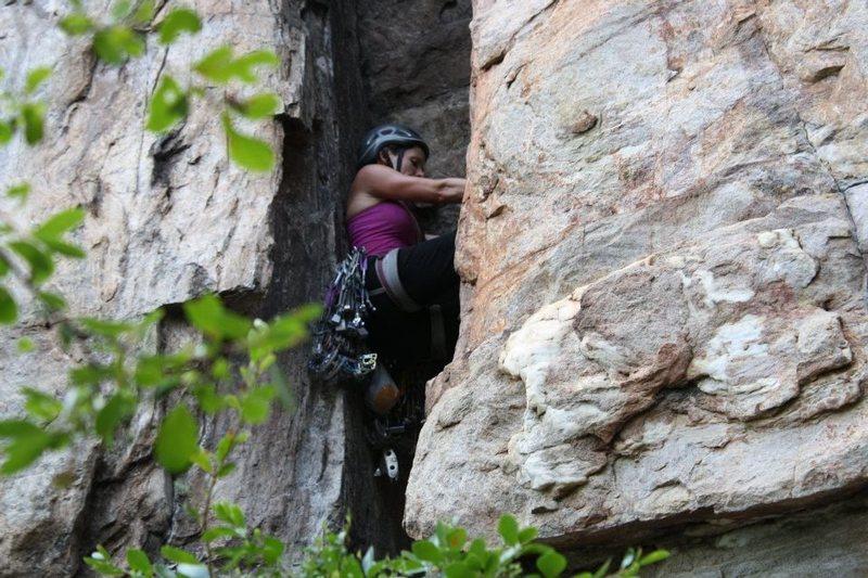 Rock Climbing Photo: Caterpillar, 5.7, Crowders Mountain, NC