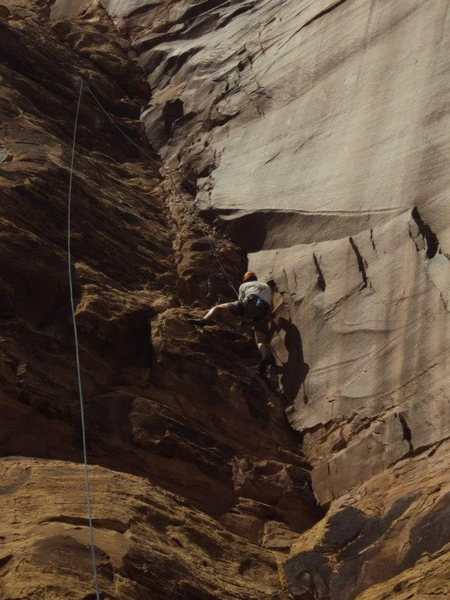 Dave Shaw following on the first ascent.