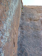 Rock Climbing Photo: Looking up the second pitch.  You can see the two ...