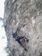Rock Climbing Photo: Holmger right in the middle of the crux move.