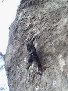 Rock Climbing Photo: Holmger working through the next tough section.