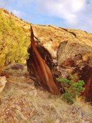 Rock Climbing Photo: En Passant problem on Groom Boulder.