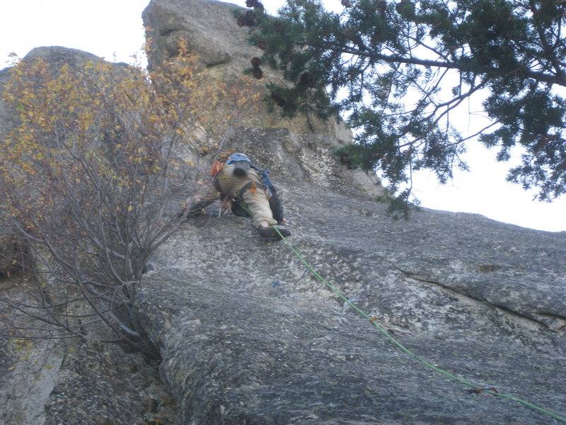Rock Climbing Photo: Pulling the second crux.