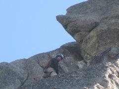Rock Climbing Photo: At P1 belay.