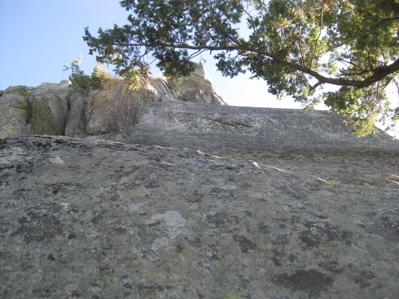 View of route-stay left. Right up the middle is the 5.10 next door.
