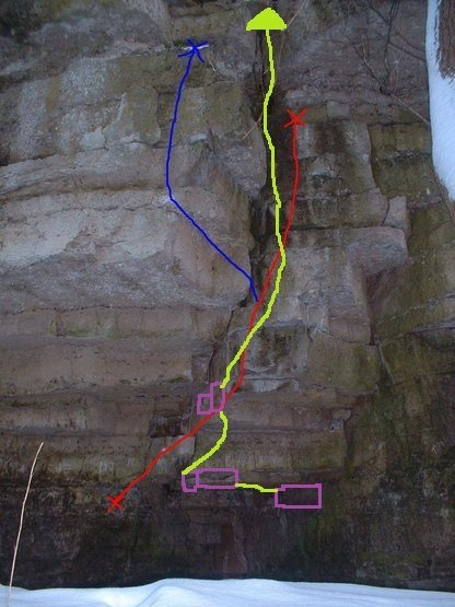 i've always climbed this spot following the green line here. i skip the slap to make it harder in the ceilings edge there are two pockets, and when it goes vertical there is the nob and the little ledge then basically follow straight up...maybe i should add a new route on here...