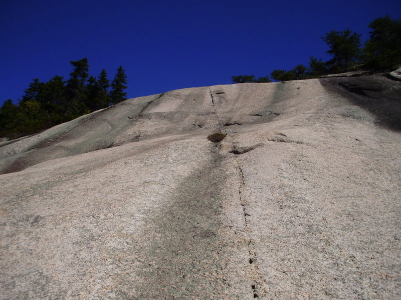 Looking up at the headwall wave on P3.