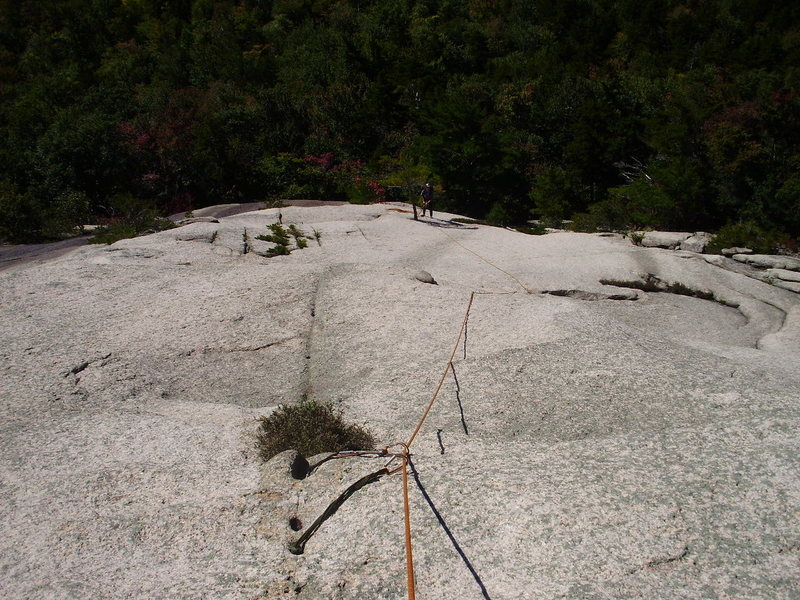 Rock Climbing Photo: Looking down P2