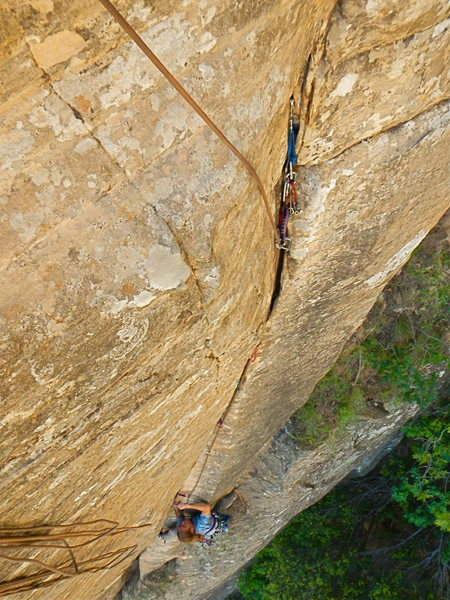 "Rock Climbing Photo: Mike following FA on ""the Music Never Stopped..."