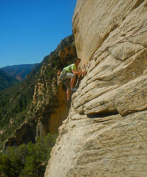 Jason follows P5, great exposure, fun climbing.