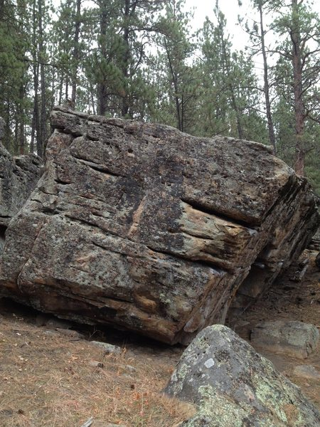 The west face of the Blue Tips boulder.  Unnamed #2 starts on the layback in the middle of the boulder.