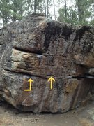 Rock Climbing Photo: Double Dyno starts on the first huge pod, dynos to...