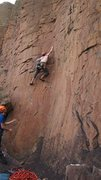Rock Climbing Photo: Me trying to figure out the sequence on lead, the ...
