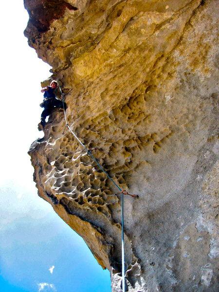 Rock Climbing Photo: Enjoying the steep, juggy climbing on Pincitas!