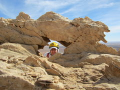 Rock Climbing Photo: Andy top of P2 ..mini arch