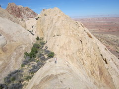 Rock Climbing Photo: Moving down ridge from top of P2 to the garden