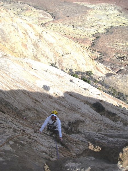 Rock Climbing Photo: Andy following P4. See trucks at road end.. top ce...