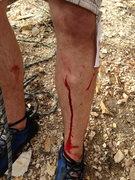 Rock Climbing Photo: Quartzite can be unforgiving; a foothold broke off...