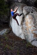 Rock Climbing Photo: John about to top out on some random boulder we fo...