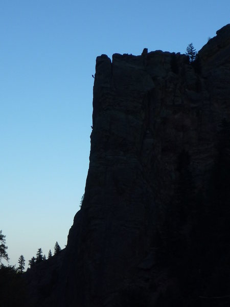 Rock Climbing Photo: Some climbers on Hairstyles and Attitudes at dusk.