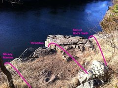 Rock Climbing Photo: Top of climbs and anchor locations