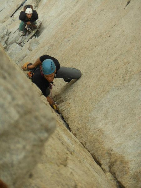 Rock Climbing Photo: Leading the eponymous pitch.