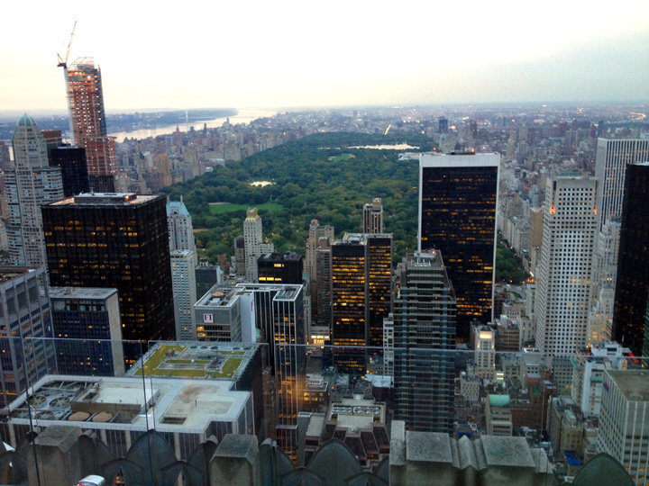 Central Park area high point@SEMICOLON@ Rockefeller Center Observation Deck.  A very worthwhile high point at 67 stories. Cost $25.