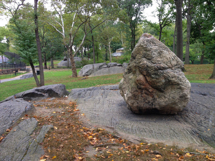 Central Park glacial erratic, this shot illustrates the glacial carving on the high quality gneiss that occurs throughout the park.