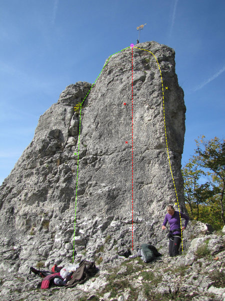 """Rock Climbing Photo: The yellow route is Nordostkante (""""Northeast ..."""