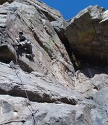 Rock Climbing Photo: Nearing the crux of P2, 11d pitch.