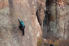 Rock Climbing Photo: Sarah moving past the 2nd bolt.