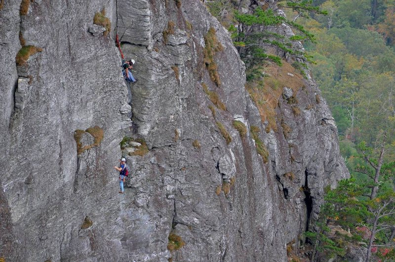 Me seconding P4 of the Daddy with my partner belaying right below the P5 corner.