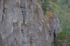 Rock Climbing Photo: Me seconding P4 of the Daddy with my partner belay...