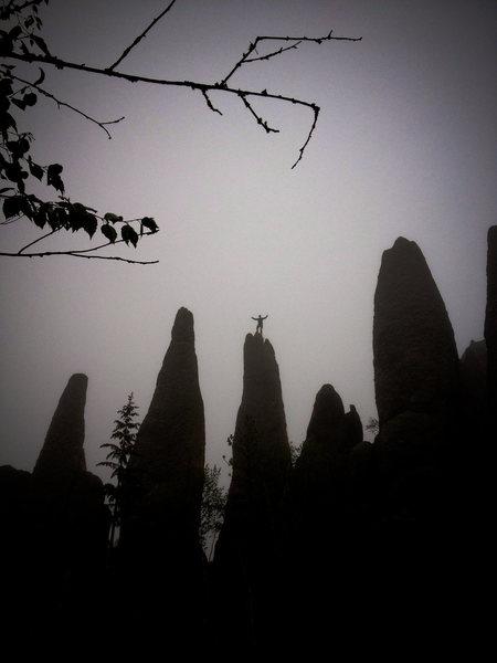 Rock Climbing Photo: Ryan atop the Tricouni Nail after a misty rainy as...