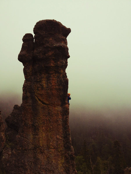 Rock Climbing Photo: Ryan thumbs-upping halfway up a rain day ascent. M...