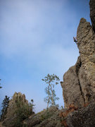 Rock Climbing Photo: Stew pulling down on an unknown route ( unknown to...