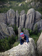 Rock Climbing Photo: Stew of the HWDAMF topping out the last pitch of t...