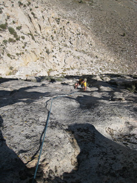 Rock Climbing Photo: Looking down pitch 6. The climber is just above th...