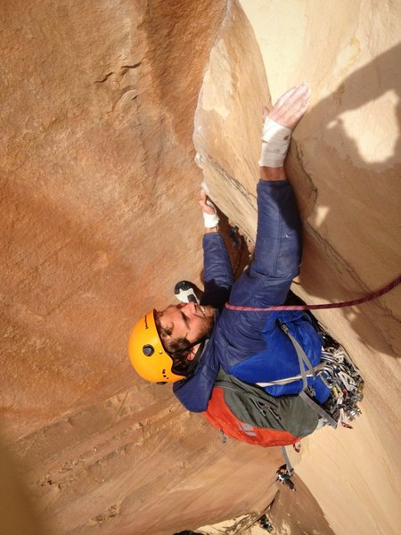Matt Kuehl cleaning up the last pitch on Cloud Tower.