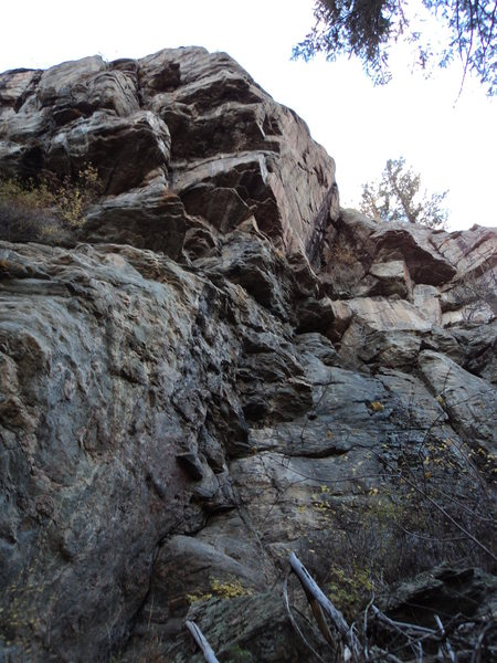 This shows the bolted line on the left side of the cliff.  It has 8 bolts and is fairly steep on the upper half.