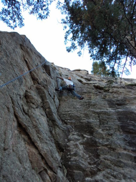 Dave starting into the crux section.