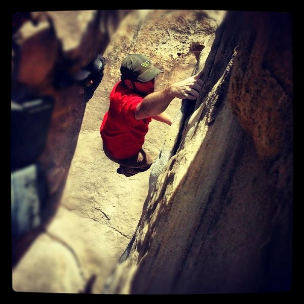Rock Climbing Photo: View from the top as the second big move is being ...