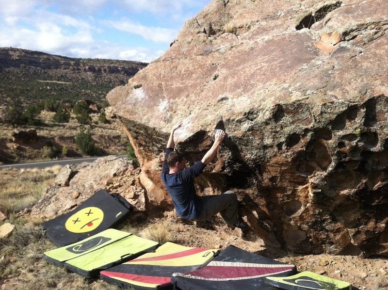 Rock Climbing Photo: Arien moving into the crux of Just Getting Started...