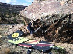 Rock Climbing Photo: Arien continuing to move thru the crux.
